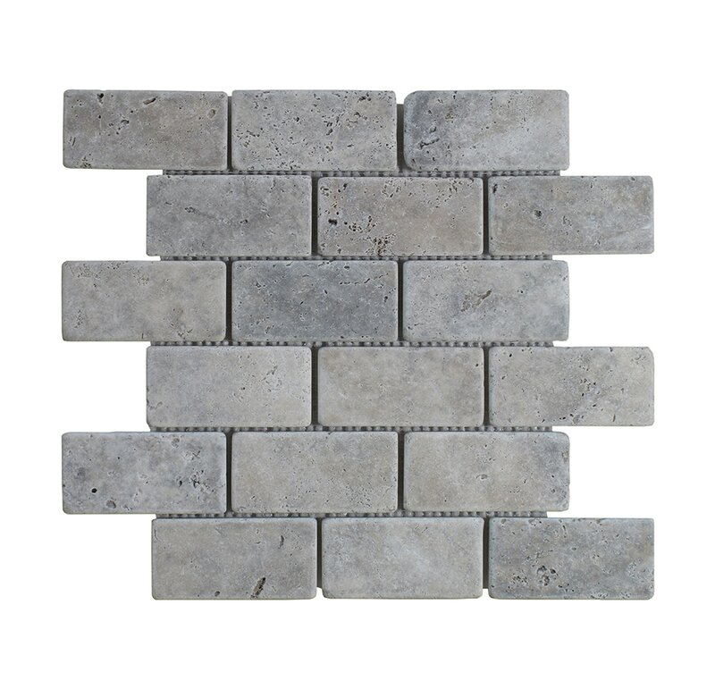 Silver Travertine Brick 2 X 4 Marble Mosaictile