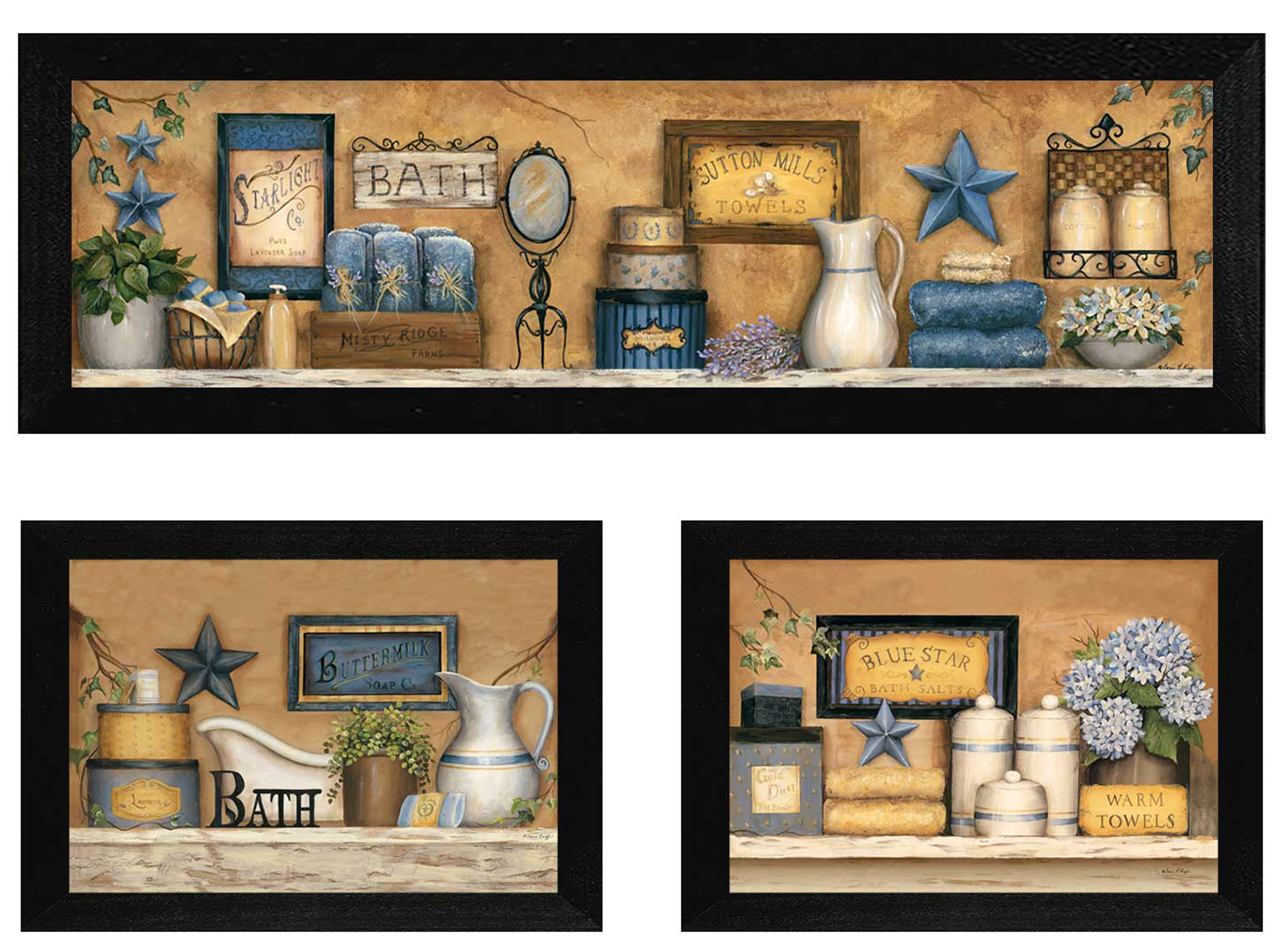 Charlton Home Bathroom Iii 3 Piece Framed Graphic Art Print Set Reviews Wayfair
