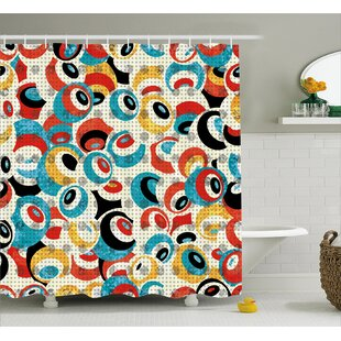 Paige Retro Theme Circle Pattern Evil Eyes Design Techno Trance Decorations Art Print Single Shower Curtain