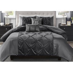 Corringham Faux Velvet 5 Piece Duvet Cover Set