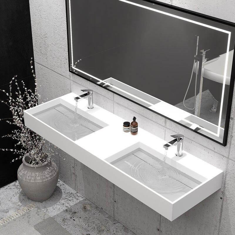 Orren Ellis Boyter Rectangular Wall Mount Bathroom Sink Reviews Wayfair