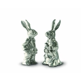 Garden Friends Easter Pewter Dressed Rabbits Salt and Pepper Shakers Set by Vagabond House