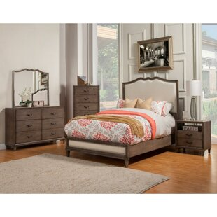 Bramwell Mahogany Wood Upholstered Panel Bed