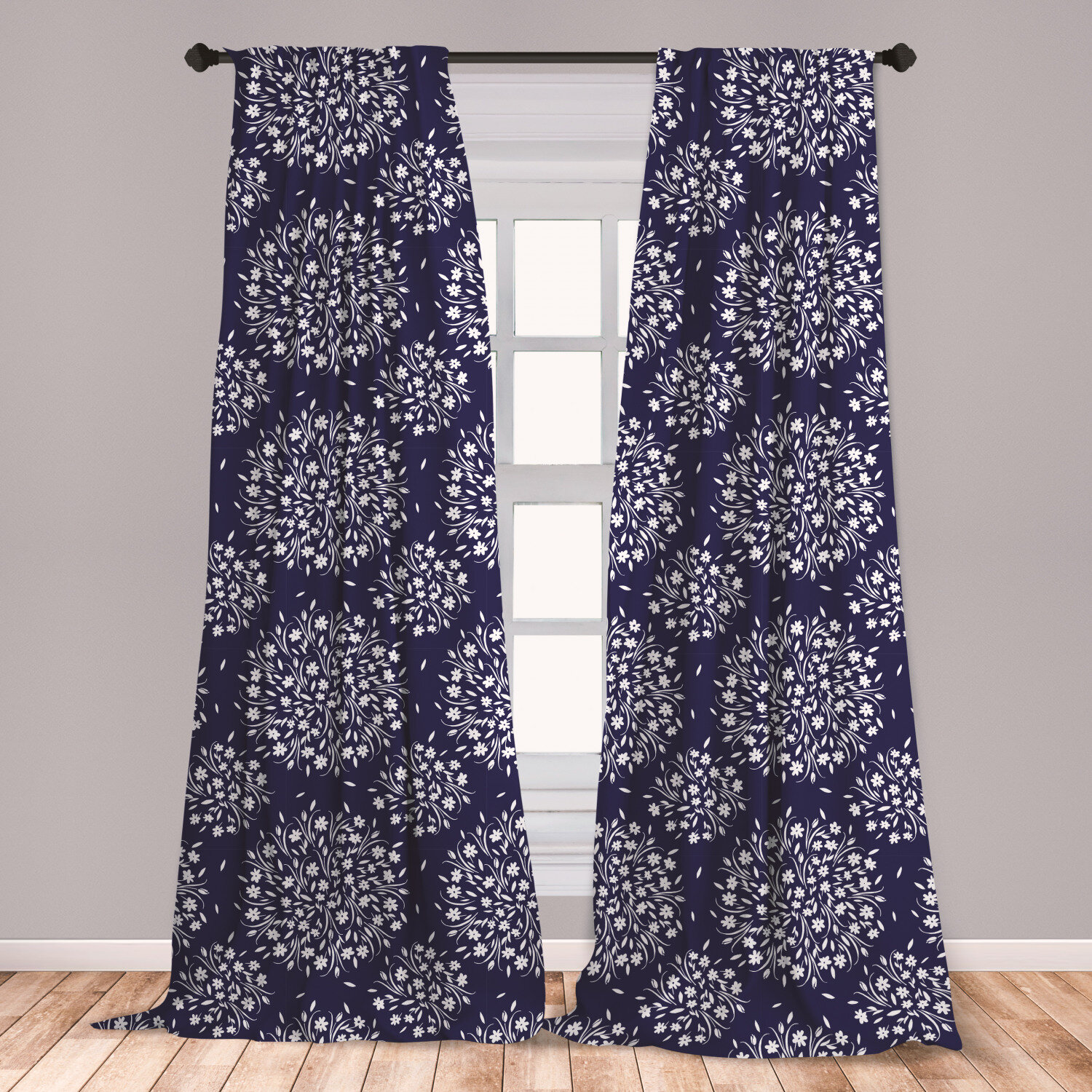 East Urban Home Ambesonne Navy And White Curtains Scroll Pattern With Little Rural Wildflowers And Buds Feminine Corsage Window Treatments 2 Panel Set For Living Room Bedroom Decor 56 X 63 Indigo White