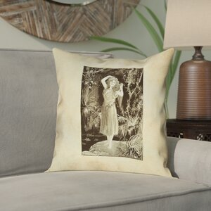 Bloomsbury Market Aridas Vintage Forest Girl Square Pillow