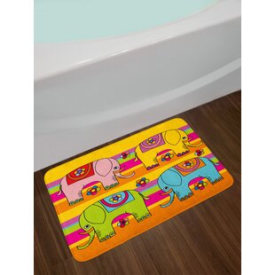 Elephant Nursery Funky Floral Eastern Elephants Colorful Hand Drawn Asian Fantasy Figures Non-Slip Plush Bath Rug