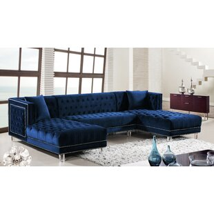 Merveilleux Navy Blue Velvet Sectional | Wayfair