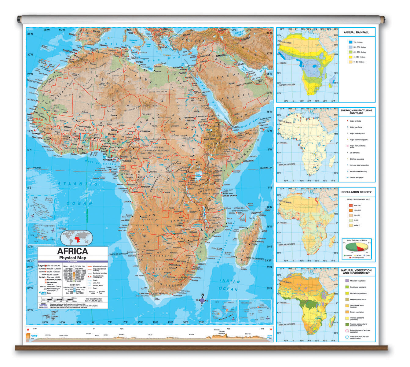 Picture of: Universal Map Advanced Physical Map Africa Wayfair