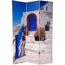 70.88 x 47 Double Sided Santorini Greece 3 Panel Room Divider by Oriental Furniture