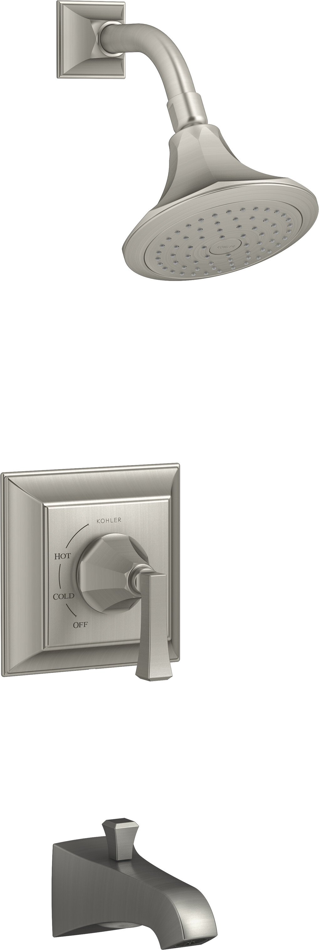 Kohler Memoirs Stately Rite Temp Shower Valve Trim With Deco Lever Handle And 2 5 Gpm Showerhead