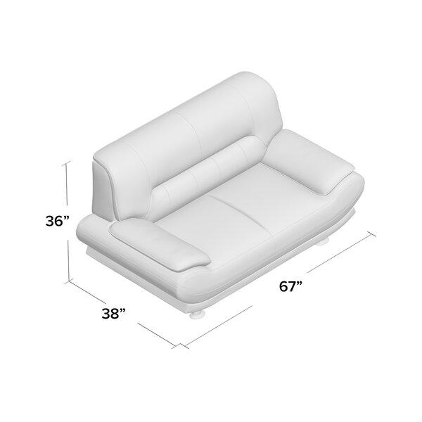 Orren Ellis Zimmer 67 Faux Leather Pillow Top Arm Loveseat Reviews Wayfair