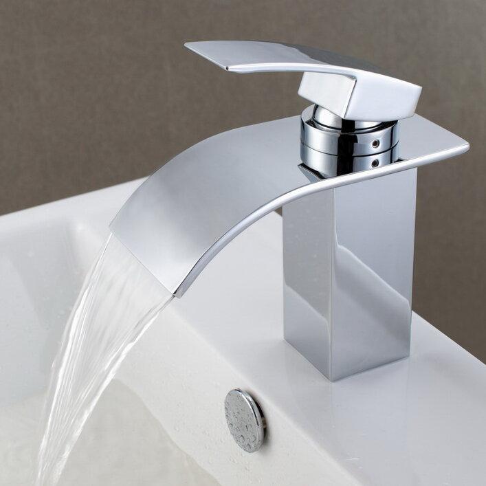 Sumerain Deck Mount Waterfall Bathroom Sink Faucet With Hoses Reviews Wayfair
