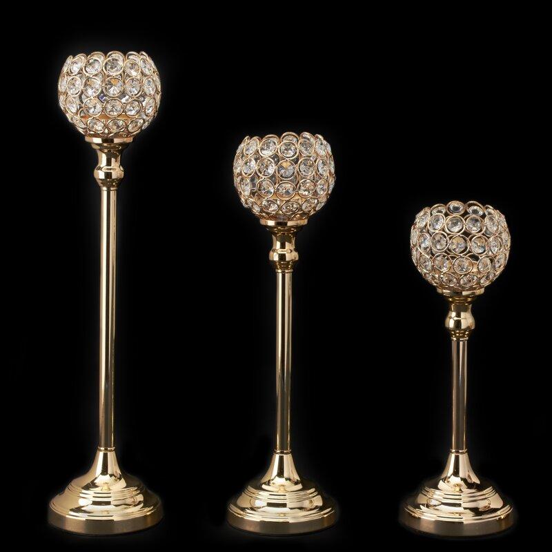 3 Piece Ball Crystal and Metal Candlestick Set