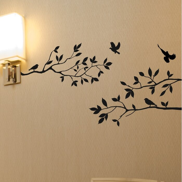 Wall Stickers Tree Branches Part - 17: Tree Branches With Birds Wall Decal