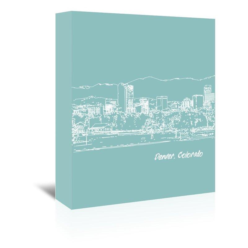 East Urban Home Skyline Denver 5 Graphic Art On Wrapped Canvas In Light Blue Wayfair