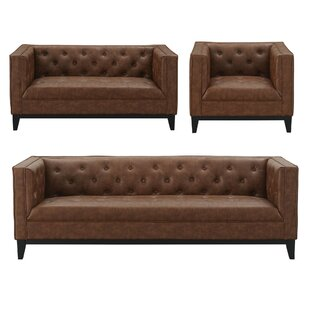 Ronald 3 Piece Leather Living Room Set by 17 Stories