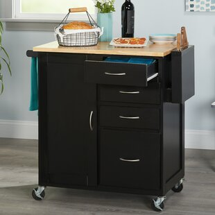 Elida Kitchen Cart with Butcher Block Top Ebern Designs