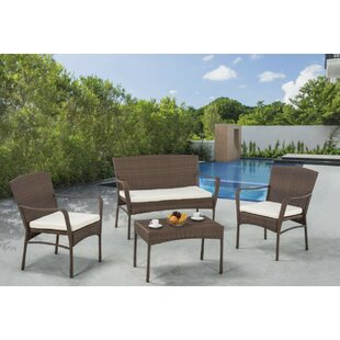 Beaman 4 Piece Conversation Set with Cushions by Bloomsbury Market