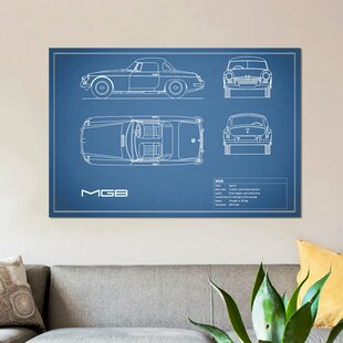 'MG MGB' Graphic Art Print on Canvas in Blue by East Urban Home