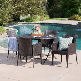 Nique Outdoor Wicker 5 Piece Dining Set