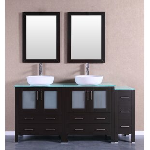 Sheffield 71 Double Bathroom Vanity Set with Mirror by Bosconi