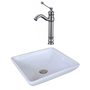 Best Reviews Ceramic Square Vessel Bathroom Sink with Faucet By Royal Purple Bath Kitchen