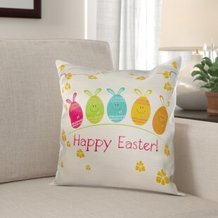 Michie Cute Adorable Cartoon Easter Egg Bunnies and Flowers Happy Easter Pillow Cover