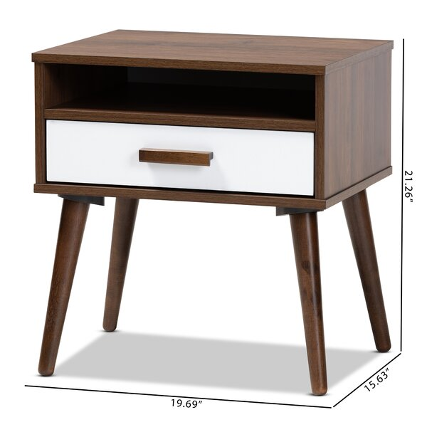 Union Rustic Revis Mid Century Modern Two Tone White And Walnut Finished 1 Drawer Wood End Table Reviews Wayfair