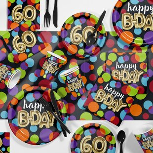 Balloon 60th Birthday Party Paper/Plastic Supplies Kit (Set of 81)