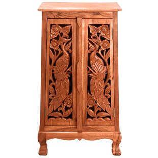 Handmade Acacia 40 Exotic Peacocks Storage Accent Cabinet by EXP D?cor