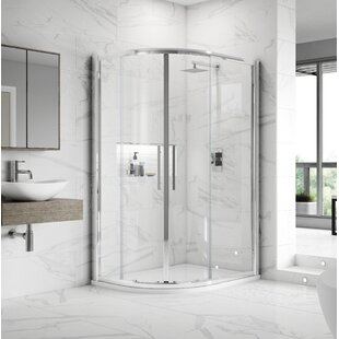 Apex 88cm W x 190cm H Offset Quadrant Sliding Shower Enclosure by Hudson Reed