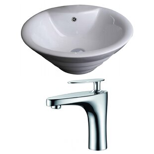Price comparison Ceramic Circular Vessel Bathroom Sink with Faucet and Overflow ByAmerican Imaginations