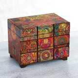 Fair Trade Artisan Crafted The Sun, The Shaman, and The Peyote Flower' Mexican Pinewood Jewellery Box