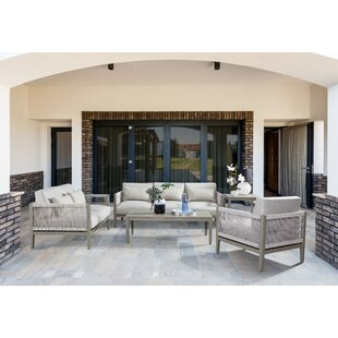 South Sea Rattan Rhiannon 5 Piece Sunbrella Sofa Set with Cushions