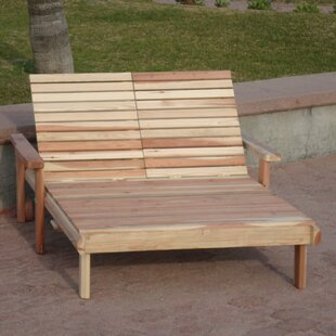 Henry Rustic Beach Double Wood Chaise Lounge