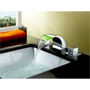 Inexpensive Widespread LED Waterfall Bathroom Sink Faucet By Sumerain International Group