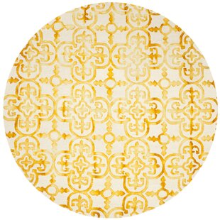 Naples Park Abstract Hand-Knotted Wool Yellow Area Rug by Bungalow Rose