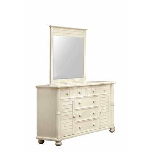 Friedrich 5 Drawer Combo Dresser with Mirror by Highland Dunes
