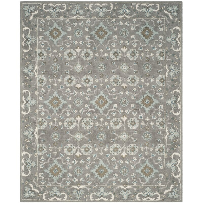 Kilbourne Oriental Handmade Tufted Wool Grey Area Rug