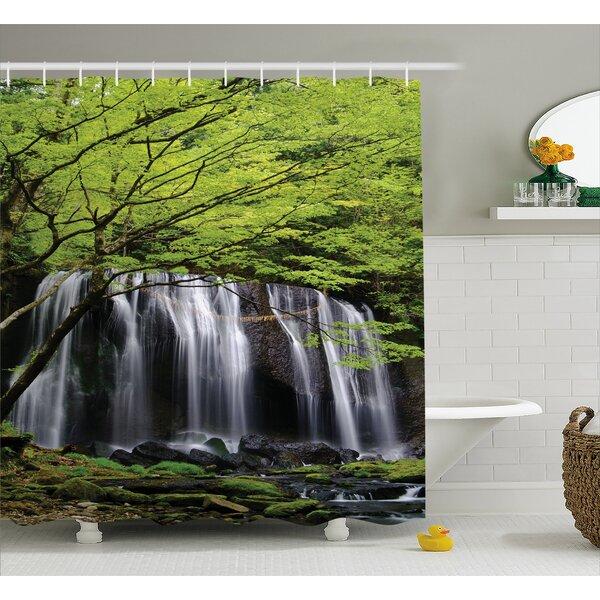 East Urban Home Scenery Rock Tree in Waterfall Shower Curtain | Wayfair