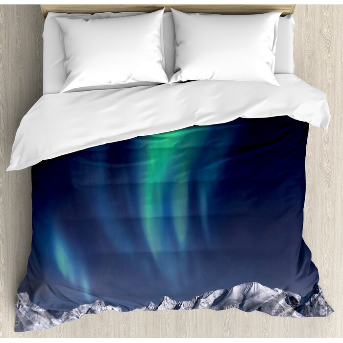 Sky Decor King Size Duvet Cover Set Northern Lights Aurora Over Fjords Mountain At Night Norway Solar Image Art Decorative 3 Piece Bedding Set With