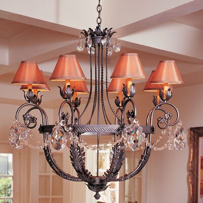 2nd Ave Design Antonia 8-Light Shaded Chandelier Finish: Tuscan Ivory, Shade: Tuscan Alabaster