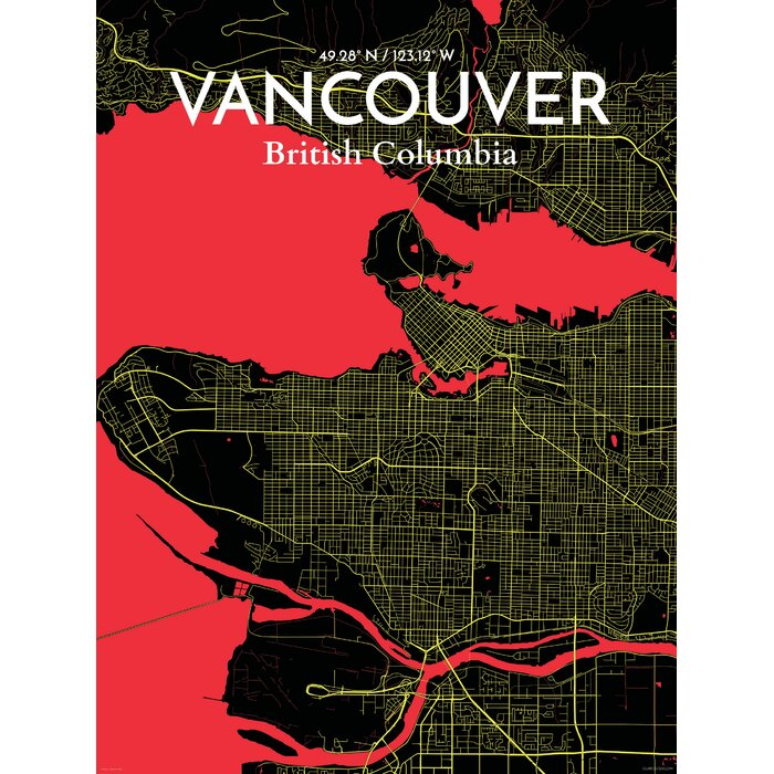 Ourposter vancouver city map graphic art print poster in vancouver city map graphic art print poster in contrast gumiabroncs Choice Image