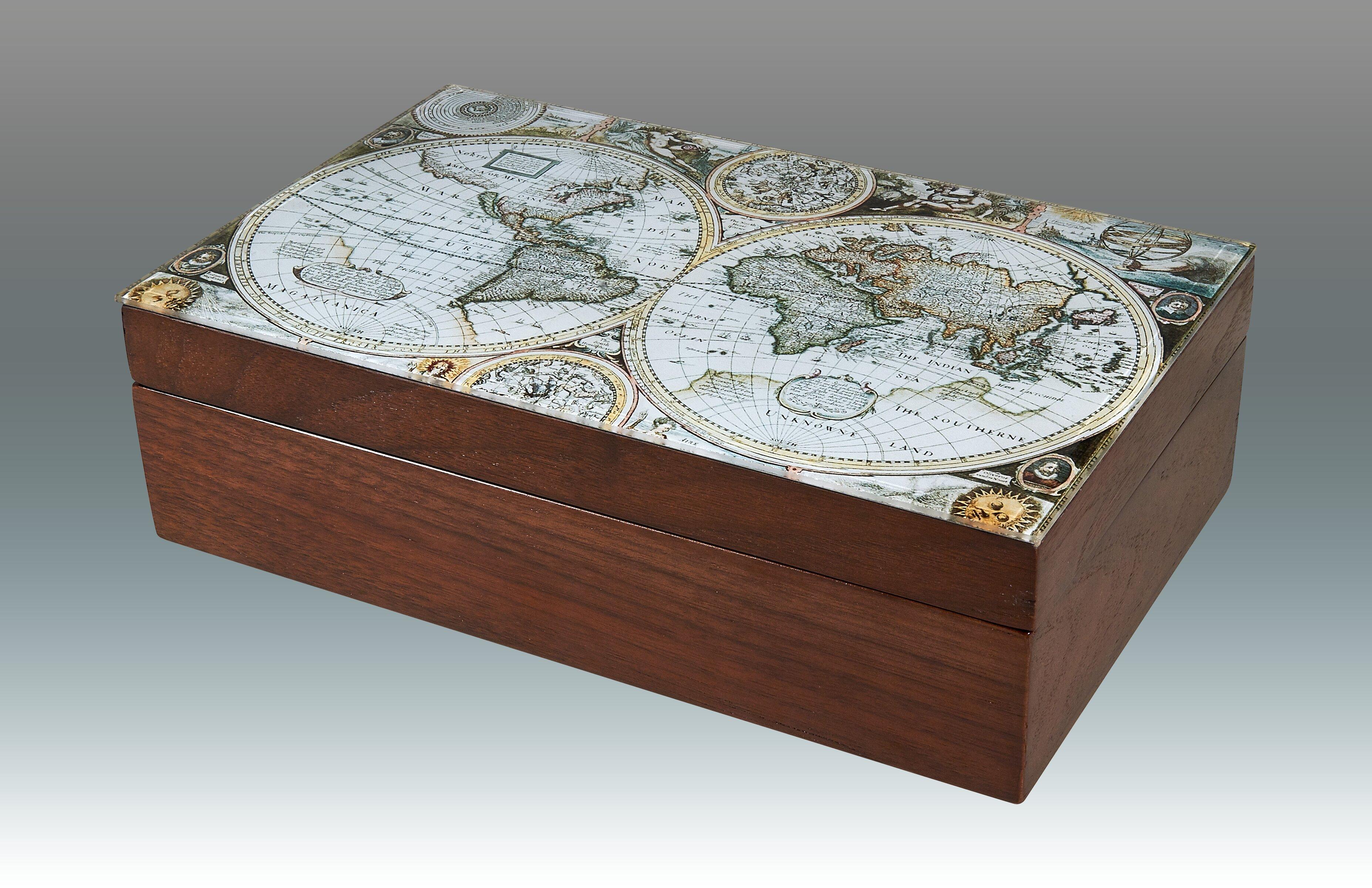 Tizo Map Empty Wood Decorative Box Wayfair
