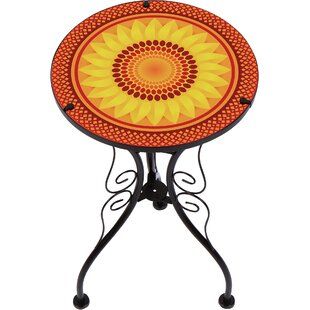 Culbertson Sunflower Design Glass and Metal End Table