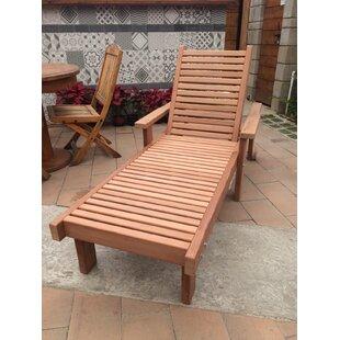 Varda Rustic Wood Chaise Lounge