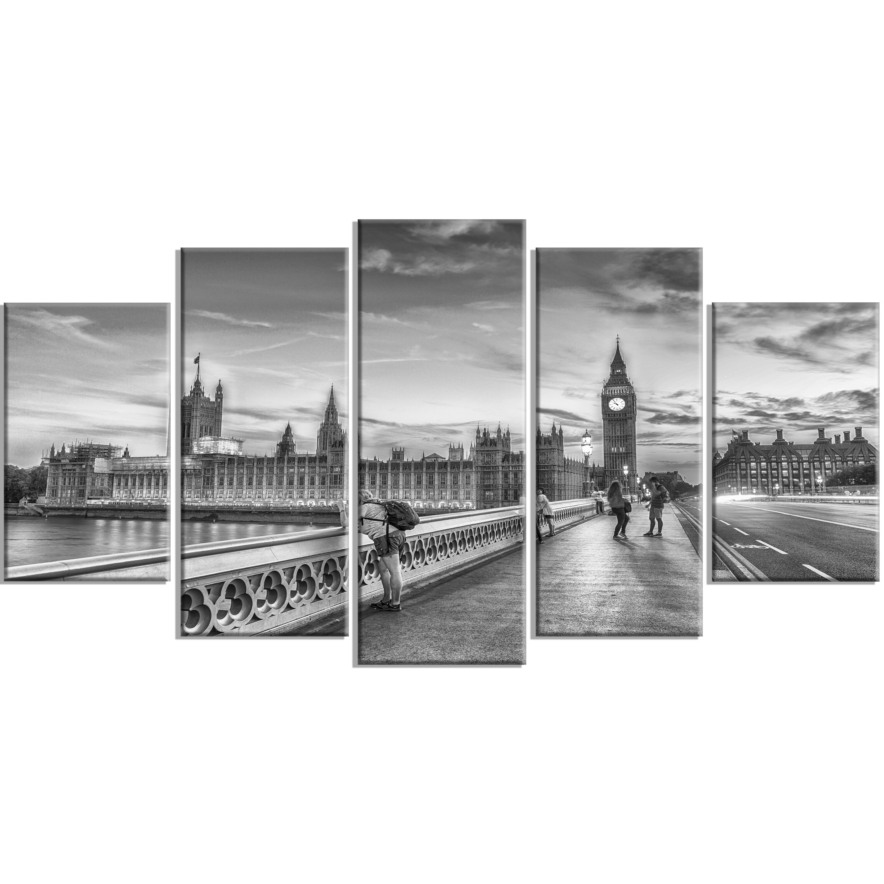 Designart Beautiful Black And White London View 5 Piece Photographic Print On Wrapped Canvas Set Wayfair Ca