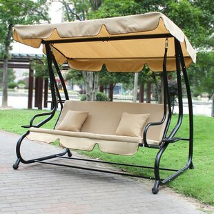 Homebeez Canopy Awning Outdoor Bench Porch Swing with Stand