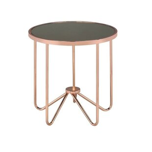 Skinner Round Glass End Table