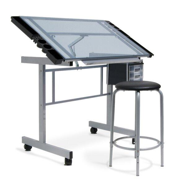 Studio Designs Vision 2 Piece Craft Station And Glass Drafting Table With  Stool U0026 Reviews | Wayfair